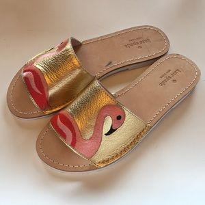 KATE SPADE Gold Flamingo Slides Sandals 7M